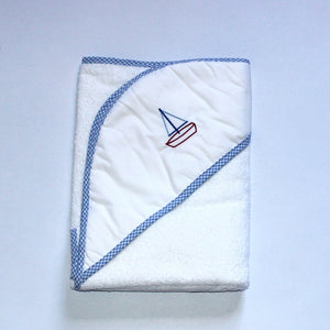 Hooded Towel - Seaside Boat