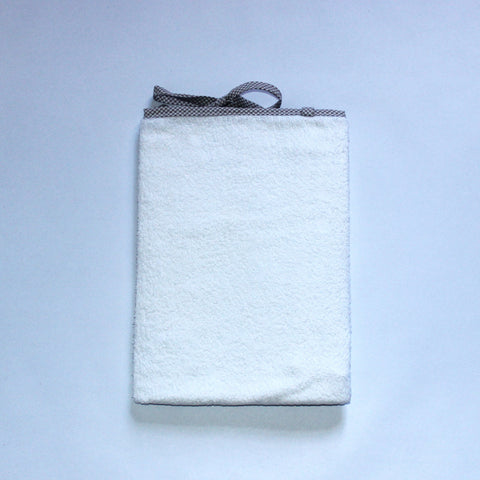 White Toweling Change Mat Cover - Stone Check Trim & Ties