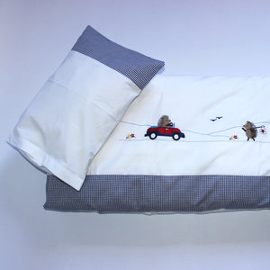 Cot Duvet Set - Travelling Hedgehogs with Car & Knapsack