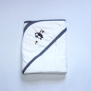 Hooded Towel - Boy Hedgehog Travelling with Navy Trim