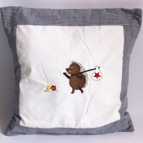 Boy Hedgehog Cushion - Navy