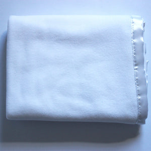 White Fleece Blanket - White Satin Trim