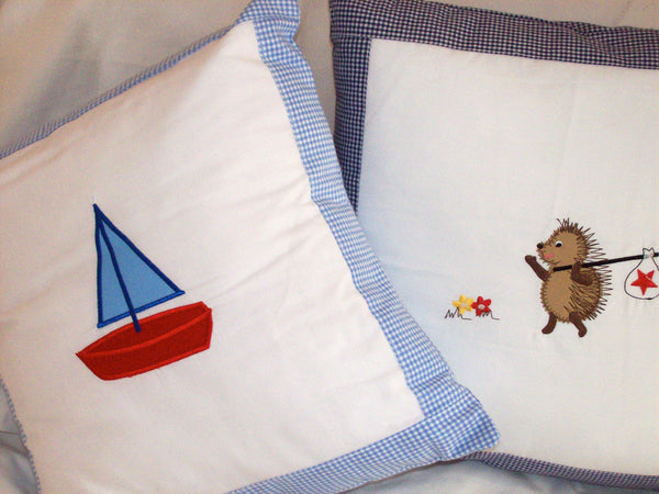 Sailing Boat Cushion - Blue Gingham Edge