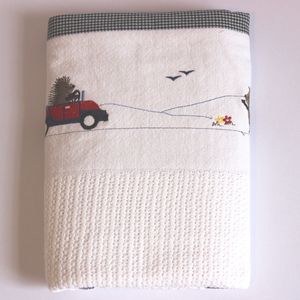 100% Cotton Cellular Blanket - Travelling Hedgehogs With Car & Knapsack