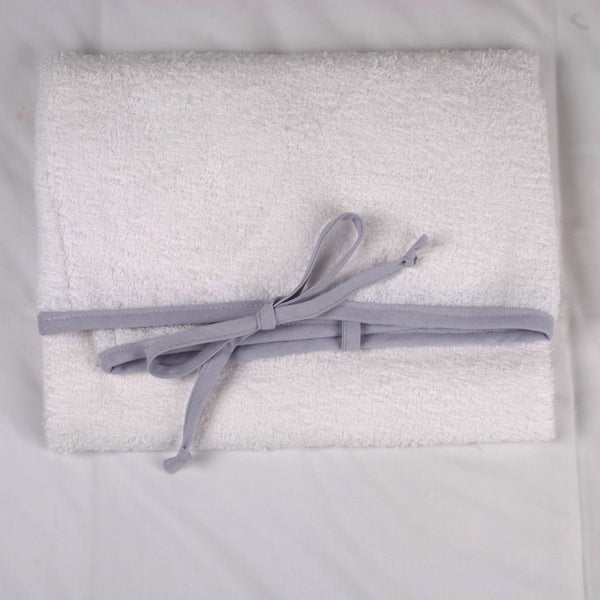 White Toweling Change Mat Cover - Gray Chambray Trim & Ties