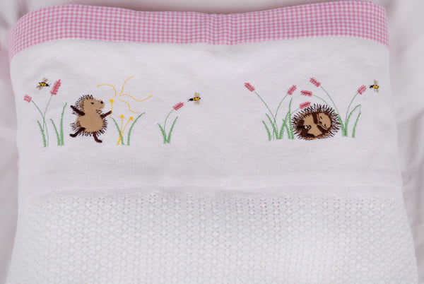100% Cotton Cellular Blanket - Hedgehogs in flower field, sleeping & blowing dandelion