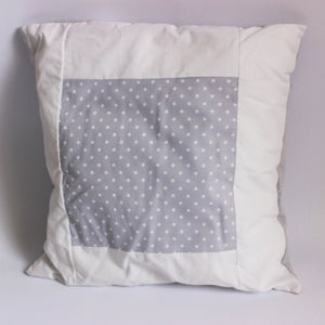Baby Spots Cushion - White on Grey