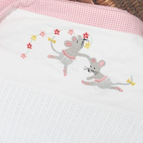 100% Cotton Cellular Blanket - Ballerina Mice with Flower Train & Tutus