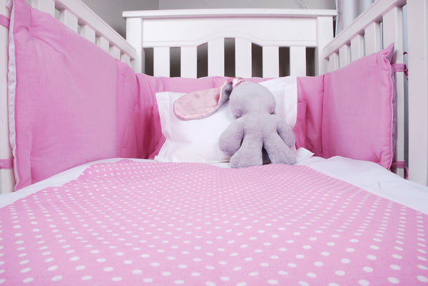 Cotton Padded Cot Bumper - Pink & White