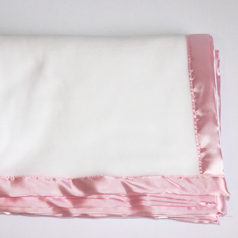 White Fleece Blanket - Pink Satin Trim