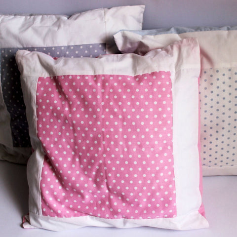 Baby Spots Cushion - White on Pink