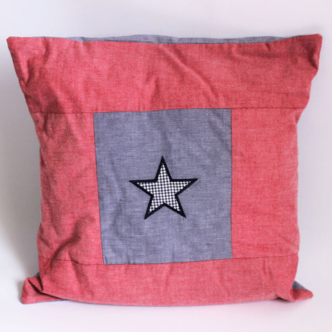 Red & Blue Chambray Pillow with Blue Gingham Star