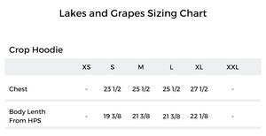 The Lakes and Grapes Sizing Chart of the Crop Hoodie