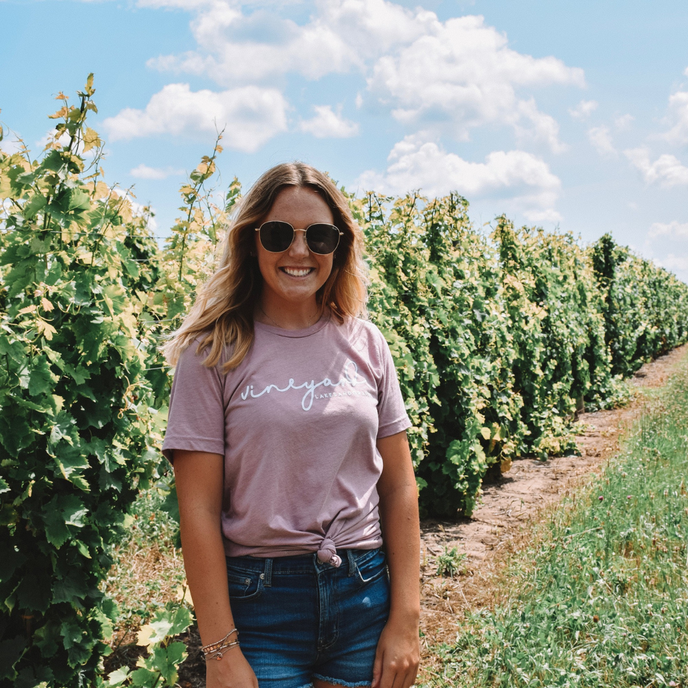 Wine Tours in Northern Michigan and style your outfit with the Lakes and Grapes Vineyard Tee-Orchid