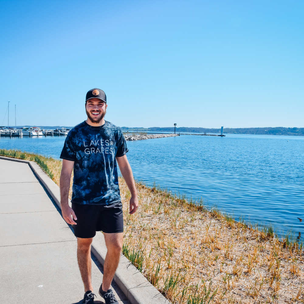 Marina walk in Traverse City with Lakes and Grapes Trendy Tie Dye gear