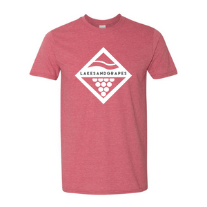 Load image into Gallery viewer, Lakes and Grapes classic diamond cardinal tee