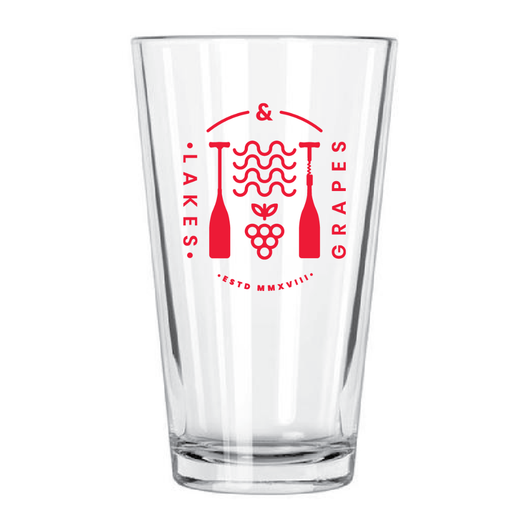 The Lakes and Grapes Lifestyle Pint Glass is perfect for your Lake Lifestyle and favorite brew
