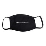 Black face mask with Lakes and Grapes logo.