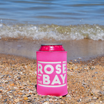 Rosé by the Bay Koozie keeping all of your drinks cold on your beach day in Traverse City