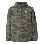 Camouflage water-resistant pull-over windbreaker with a large front pocket and white Lakes and Grapes logo light enought for a summer hike and warm enough for a Michigan winter.