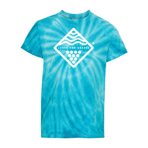 Adventures with the kids and have them wear a splash of color with the Youth Tie Dye Tee- Blue by Lakes and Grapes
