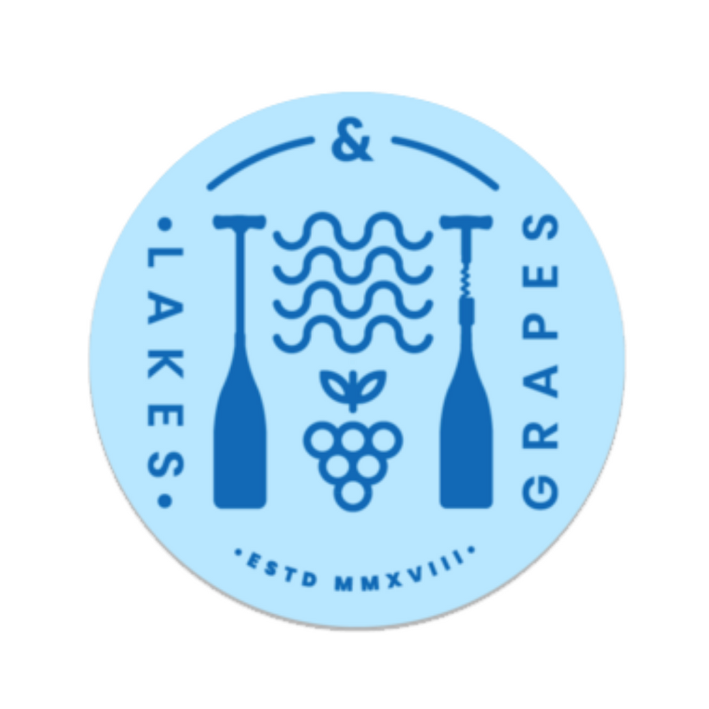 Durable and waterproof round light blue sticker with dark blue Lakes and Grapes paddle logo is durable and ready to be stuck on water bottles, laptops, and paddle boards.