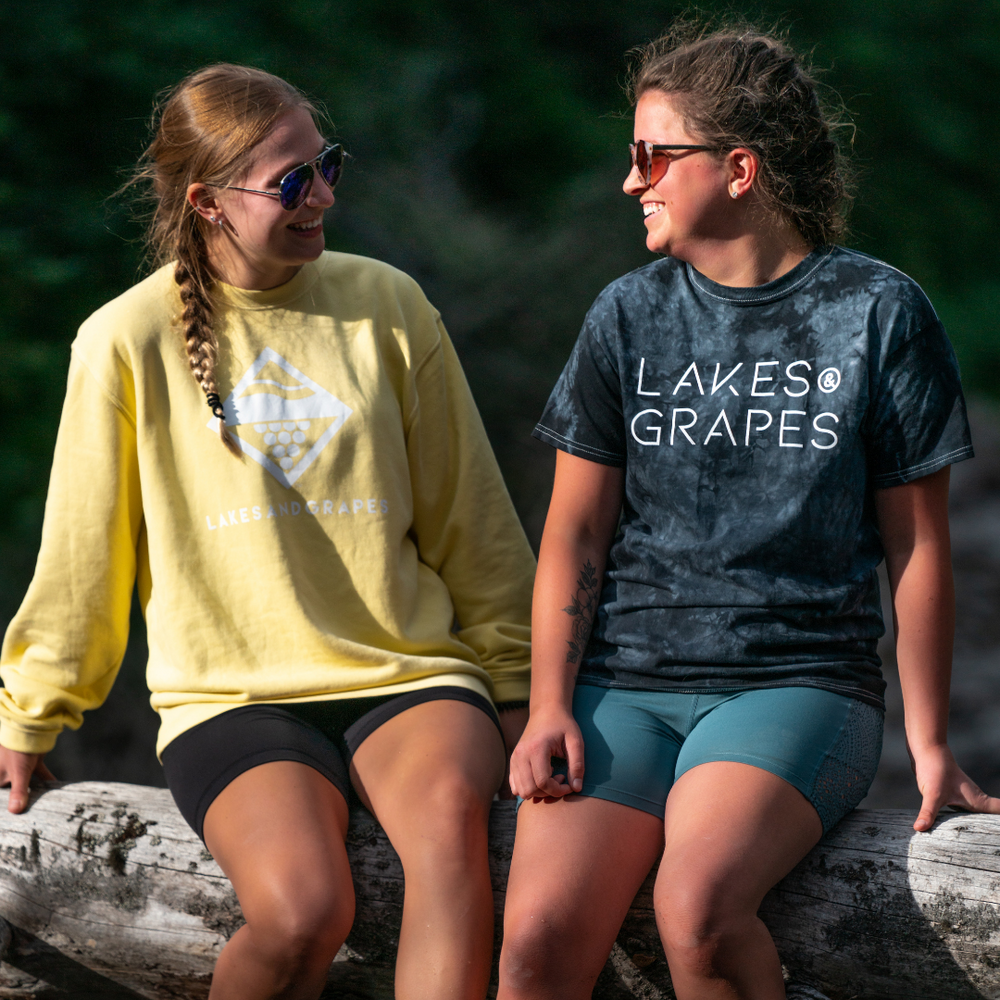 Explore the outdoors in a lightweight, unisex sizing, trendy tie dye tee by Lakes and Grapes