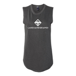 Lakes and Grapes women's classic rocker tank with white logo and lettering contain organic and recycled materials.