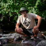 Hike in a lightweight, comfortable, unisex Wave and Vine Tee-Tan by Lakes and Grapes