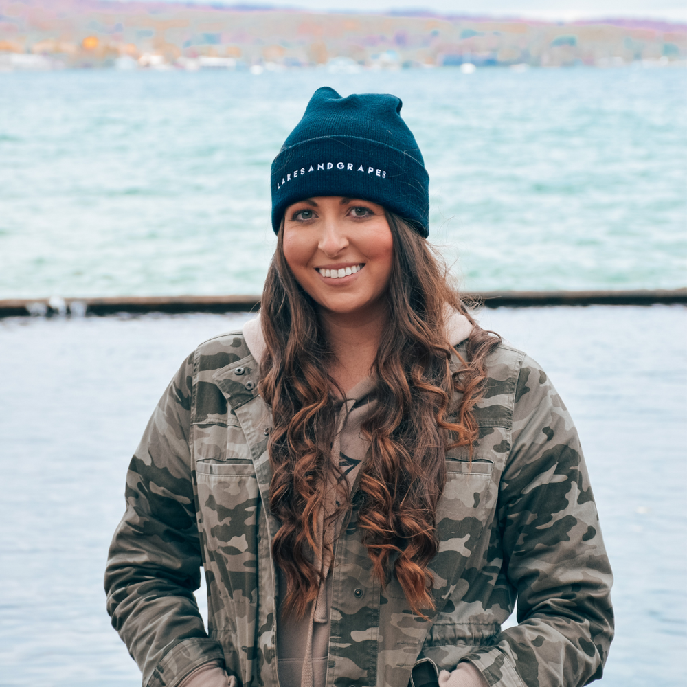Lightweight and warm, this black Lakes and Grapes embroidered beanie is perfect for Michigan falls and winters.