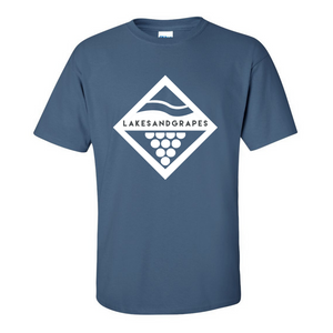 Load image into Gallery viewer, Lakes and Grapes Classic Diamond Tee Indigo Blue