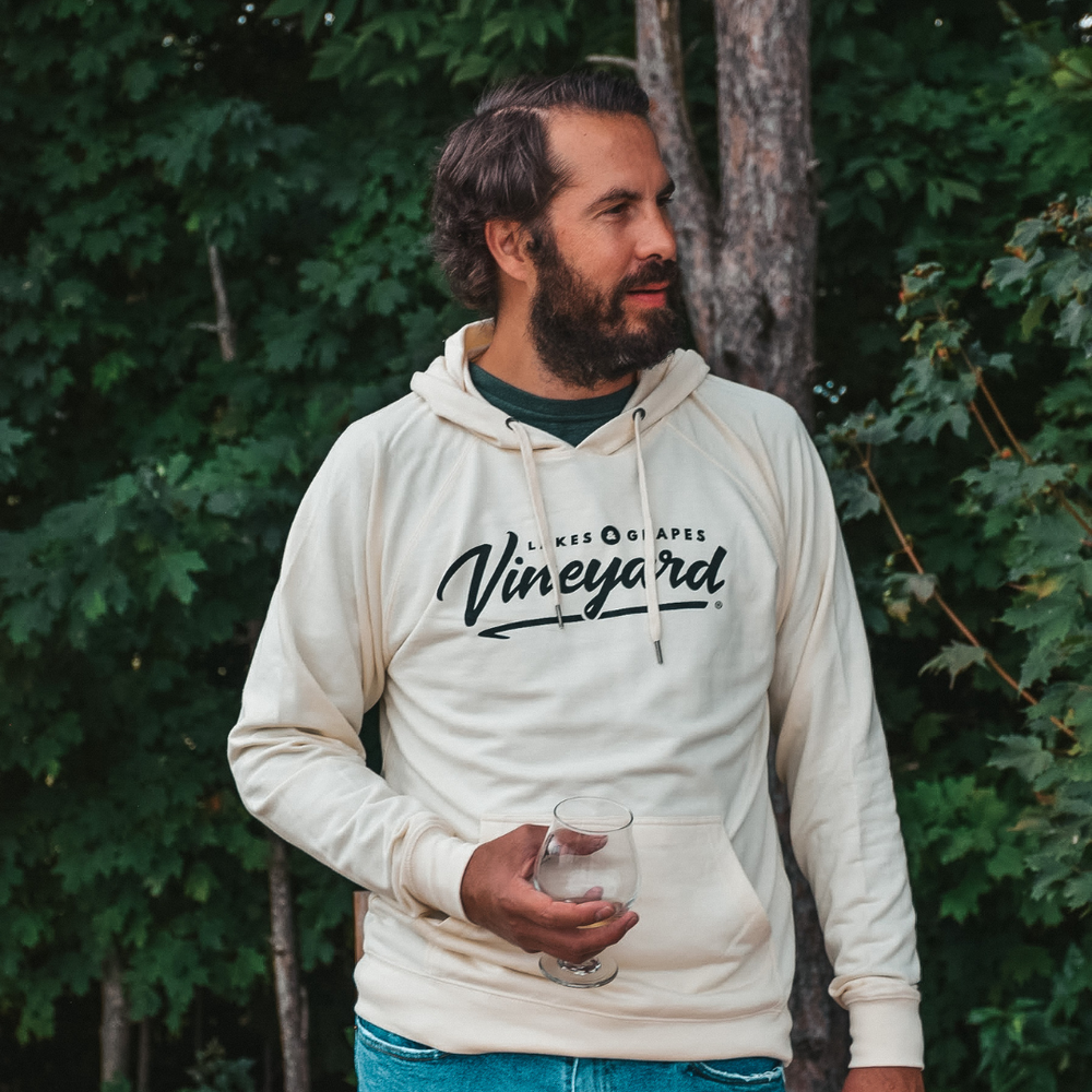 Wear the Lakes and Grapes Vineyard Vintage Hoodie on your next Fall Wine Tour in Traverse City