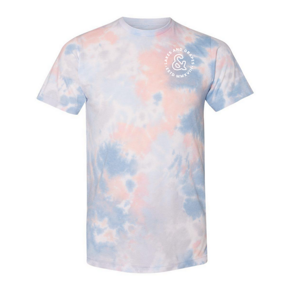 Adventure in Northern Michigan in the Lakes and Grapes Tie Dye Tee- coral reef