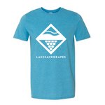 Lakes and Grapes lake diamond tee in heather Sapphire with white logo and lettering.