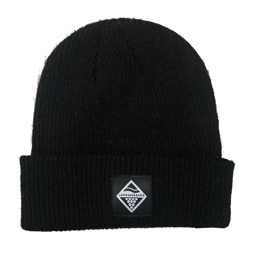 Lakes and Grapes merino wool beanie in black is perfect for cold Midwest winters.