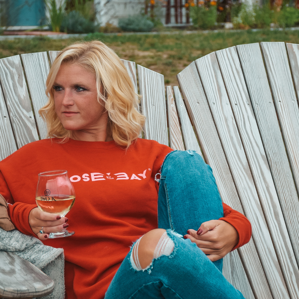 Visit Two K Farms in your Rose by the Bay Crew Sweatshirt