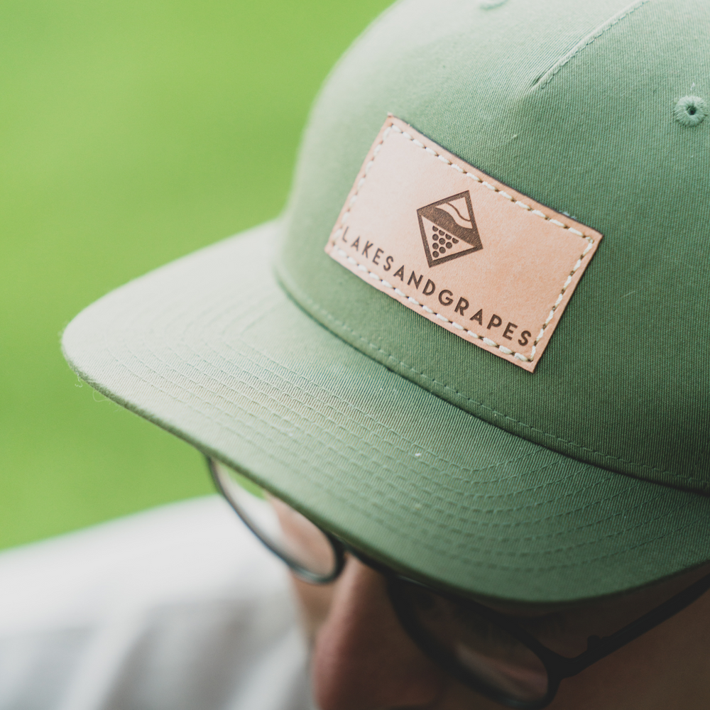 Classic Olive Leather Patch Snapback Hat