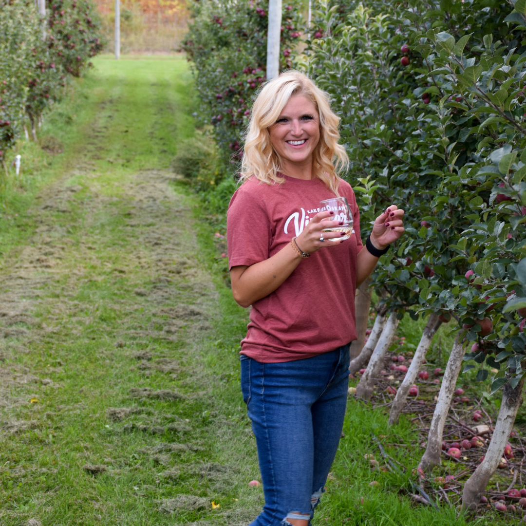 Tour the wineries in Northern Michigan in the fall and wear the Lakes and Grapes Vineyard Tee-Clay