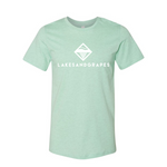 Lakes and Grapes classic logo heather mint tee is soft, comfortable, and ready for your adventures.