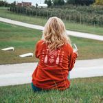 Wine Tasting on the hill at Two K Farms in your Rose by the Bay Crew Sweatshirt