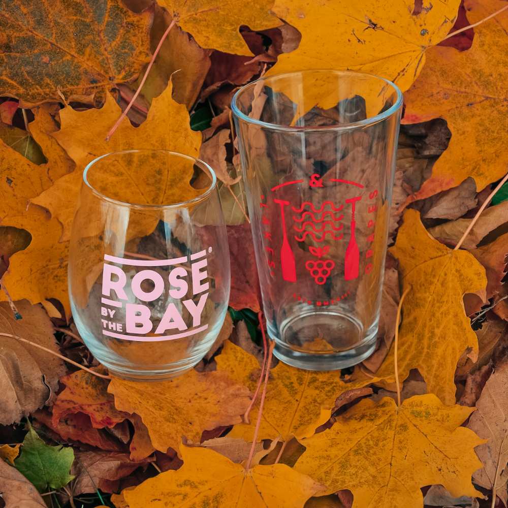 Sip wine by the beach in Traverse City from the Rosé by the Bay Stemless Glass