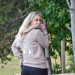 Layer the Lakes and Grapes Wave & Grape Zip Hoodie- Tan on your next Fall Wine Tour