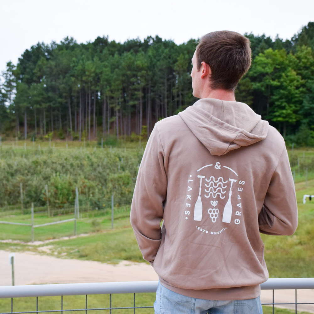 Explore Northern Michigan in the Lakes and Grapes Wave & Grape Zip Hoodie- Tan