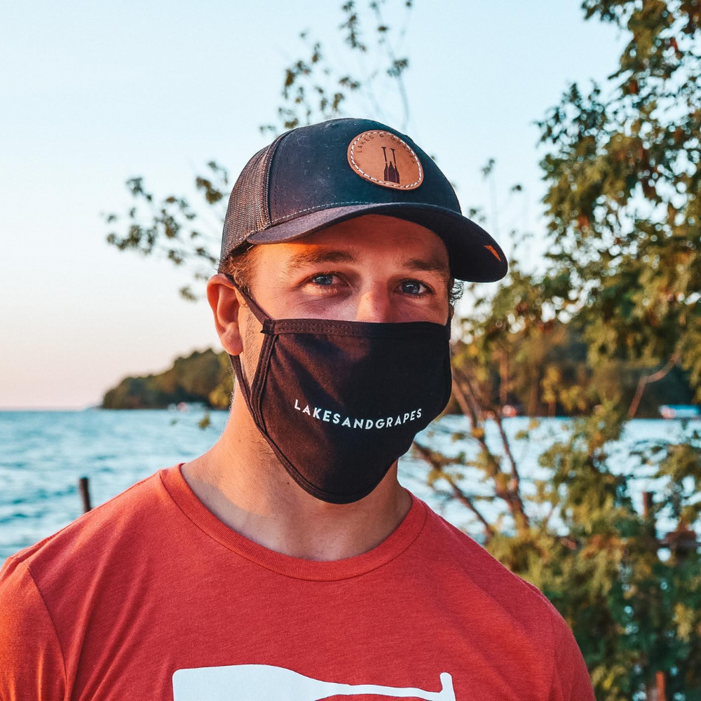 The Lakes and Grapes Mask styled with the Screw It! Paddle Tee- Red