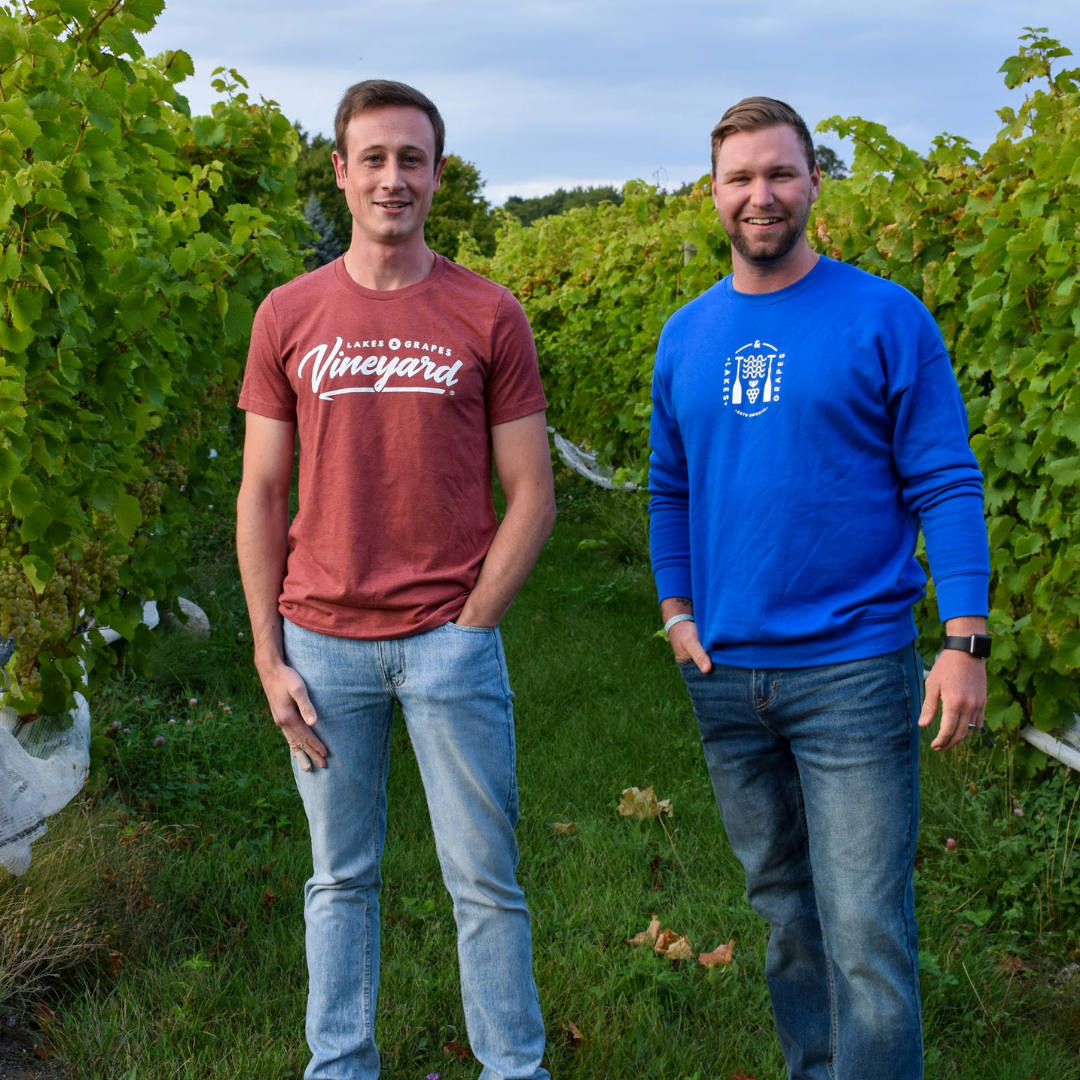 Planning a wine tour in Traverse City in the Fall to wear the Lakes and Grapes Vineyard Tee-Clay