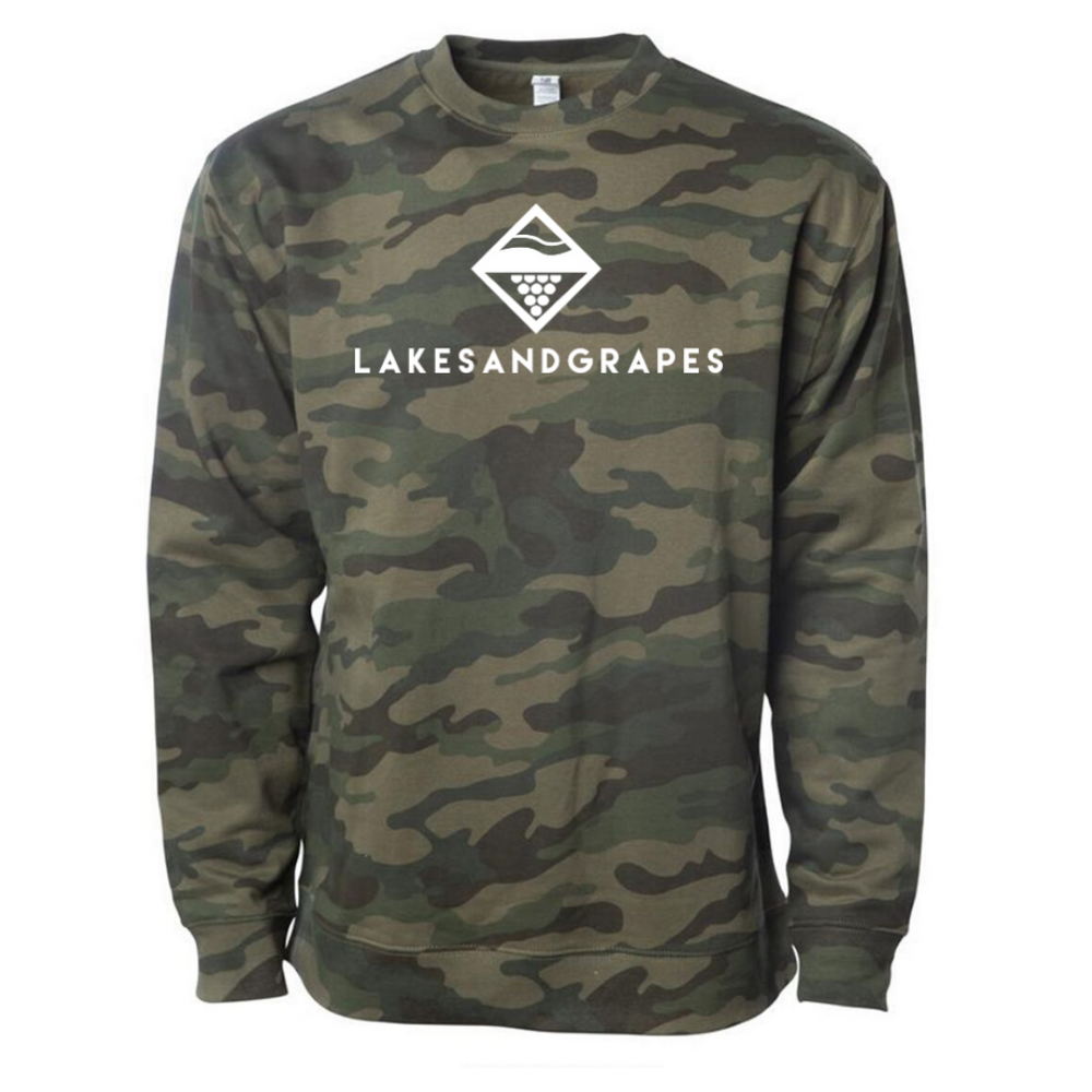 Lakes and Grapes camo crew with white logo  is warm and cozy, perfect for Midwestern winters.