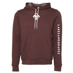 Lakes and Grapes icon hoodie in maroon with white logo on chest and white lettering on the sleeve.