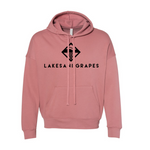 Lakes and Grapes classic mauve hoodie with black logo and lettering.