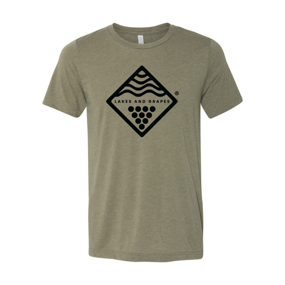Style the Lakes and Grapes Wave and Vine Tee- Military Green on your day on the lake, at the beach, or at a winery in Northern Michigan