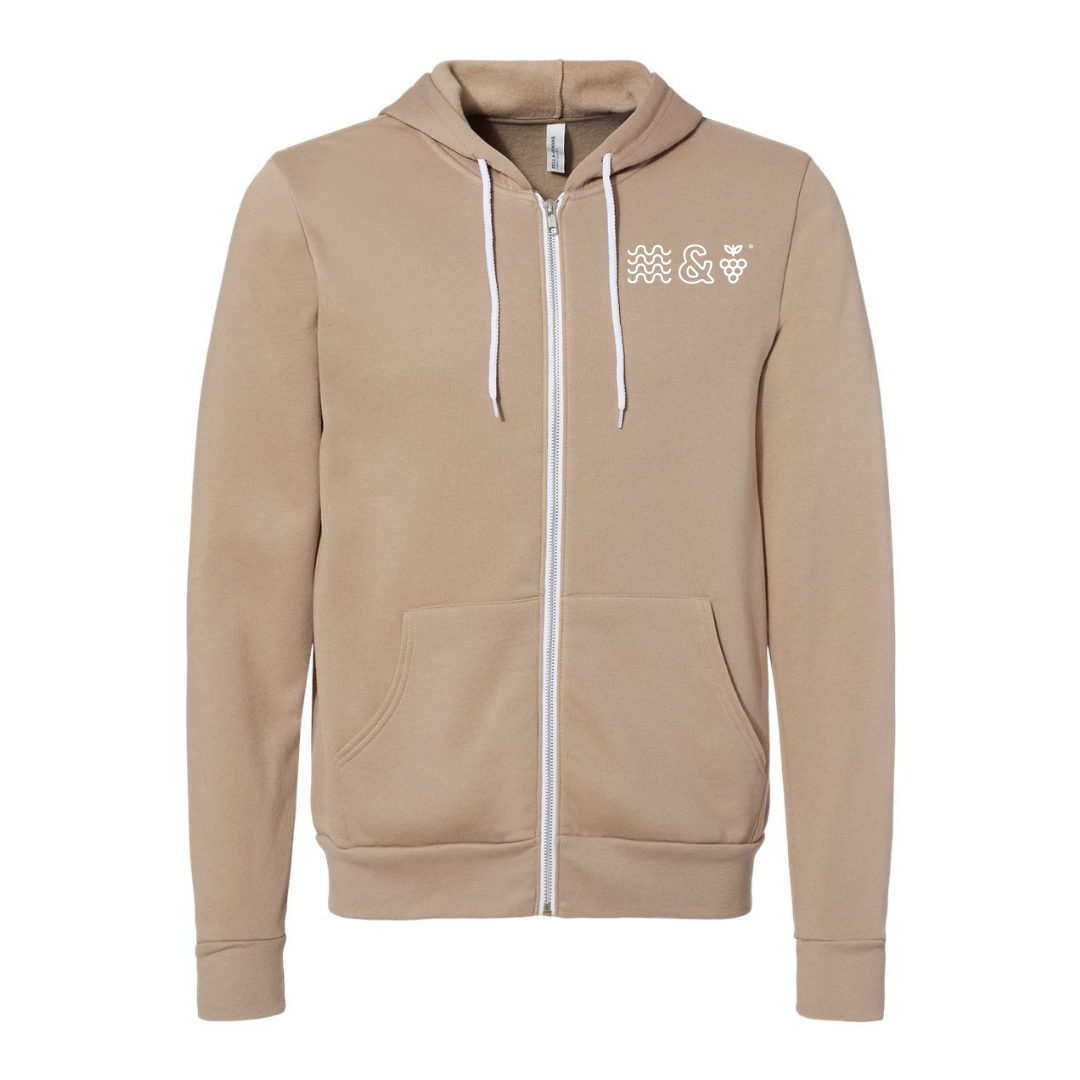 Gear up for Fall Adventures with the Lakes and Grapes Wave & Grape Zip Hoodie- Tan